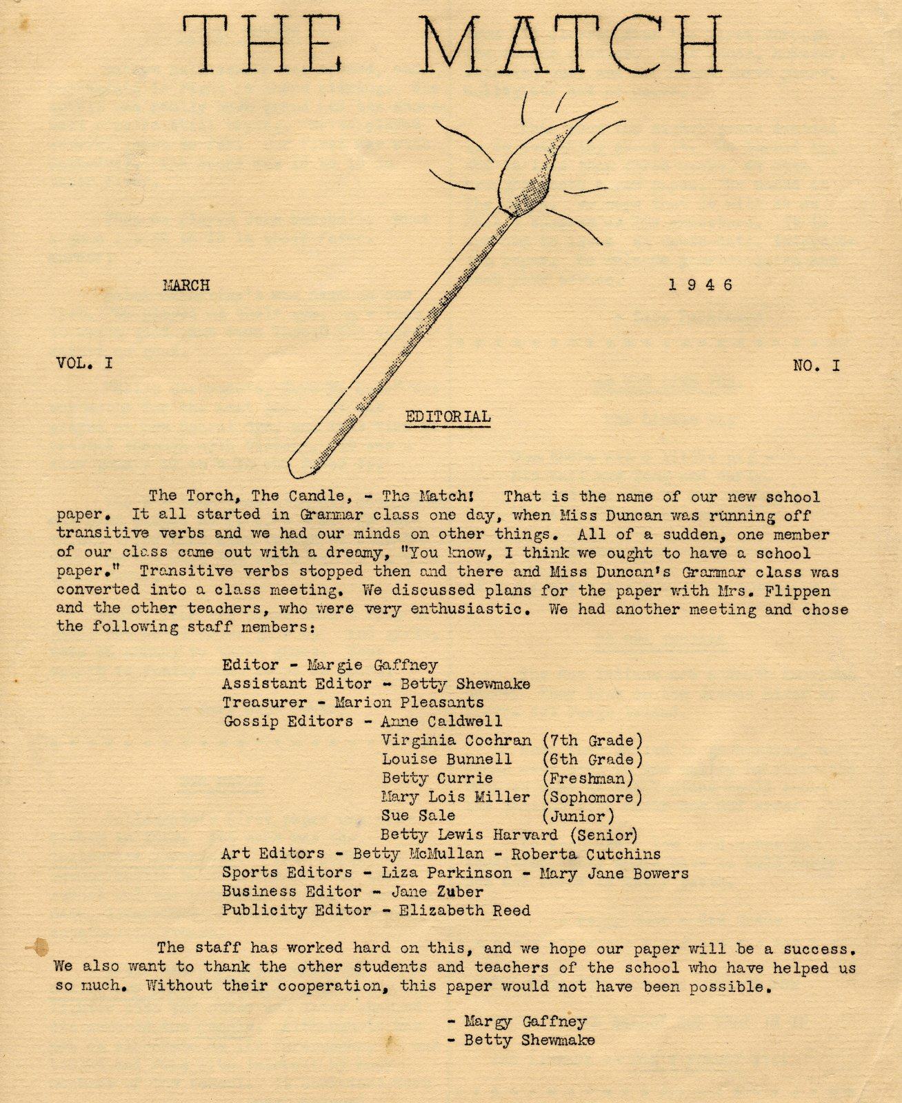 1946 The Match Vol 1 No 1 Page 1