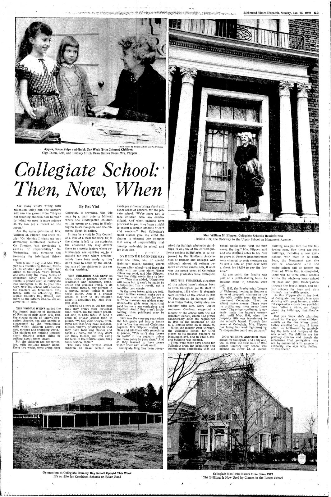 """Collegiate School: Then, Now, When\"" in the Richmond Times-Dispatch, January 25, 1959"
