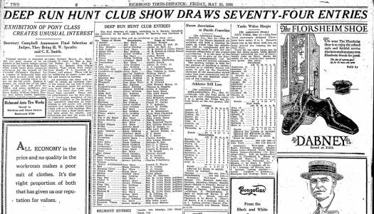 """Deep Run Hunt Club Show Draws Seventy Four Entries,"" Richmond Times-Dispatch, May 24, 1924"
