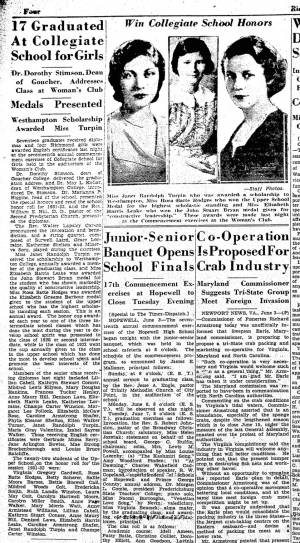 """17 Graduated At Collegiate School for Girls,"" Richmond Times-Dispatch, June 17, 1932"