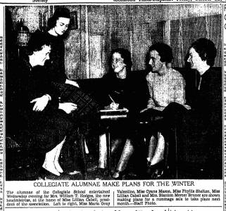 """Collegiate Alumnae Make Plans For The Winter,"" Richmond Times-Dispatch, October 22, 1937"