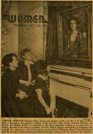 """Portrait Unveiling,"" Richmond News-Leader, October 25, 1951"