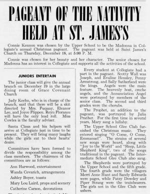"""""""Pageant of the Nativity Held at St. James's"""" in The Match, December 1958"""