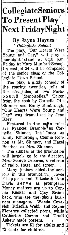 """""""Collegiate Seniors To Present Play Next Friday Night"""" in unidentified paper, February 1959"""