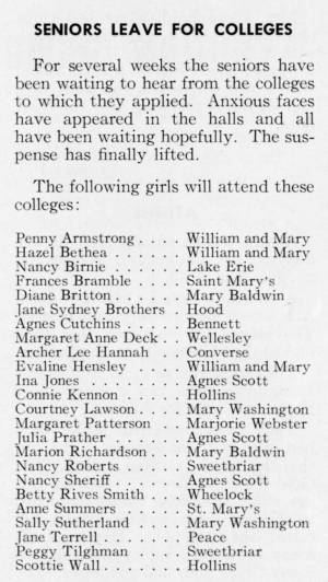 """""""Seniors Leave For Colleges"""" in The Match, May 1959"""