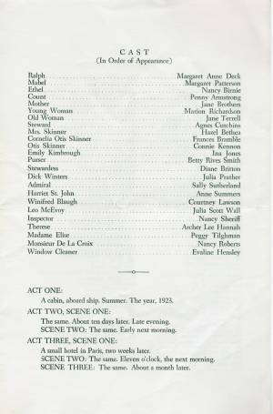 """""""Our Hearts Were Young And Gay,"""" 1959 Senior Play, Program, p. 3"""