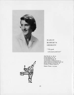 Nancy Roberta Sheriff, 1959 Torch, p. 32