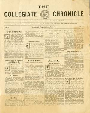 The Collegiate Chronicle, Vol. 1, No. 1, June 5, 1919
