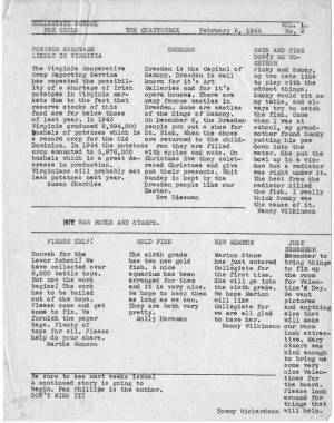 The Chatterbox, Vol. 1, No. 2, February 2, 1945, Typescript
