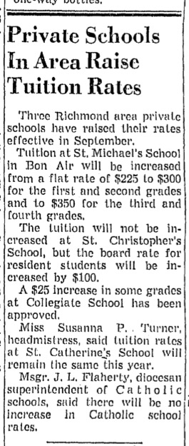 """""""Private Schools In Area Raise Tuition Rates"""" from unidentified Richmond newspaper, ca. 1958"""