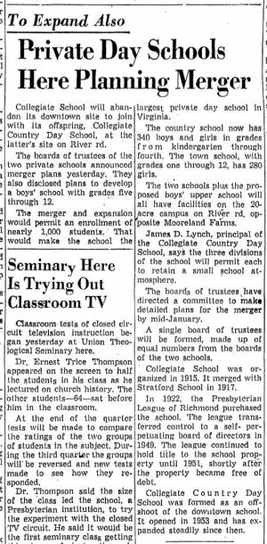 """""""Private Day Schools Here Planning Merger"""" from unidentified Richmond newspaper, ca. 1958"""