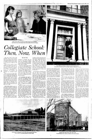"""""""Collegiate School: Then, Now, When"""" in the Richmond Times-Dispatch, January 25, 1959"""