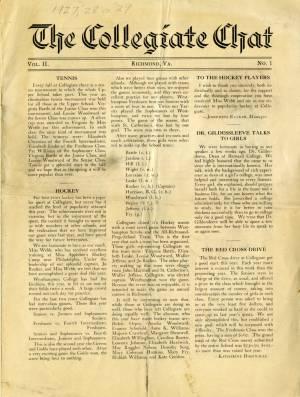 The Collegiate Chat, Vol. 2, No. 1, ca. 1928