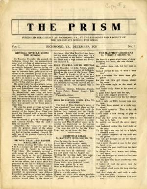 The Prism, Vol. 1, No. 1, December 1920